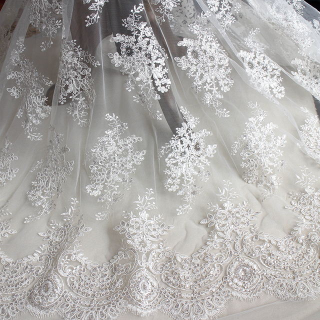 High grade eyelash lace sequins embroidery lace hand DIY bride ...