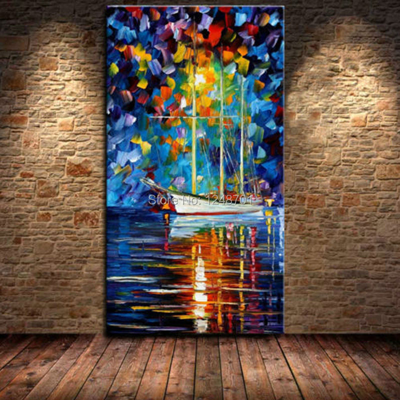 Large Hand Painted Palette Knife Boat on the River Oil Painting Night LampView Painting Home Living Room Wall Decoration Picture