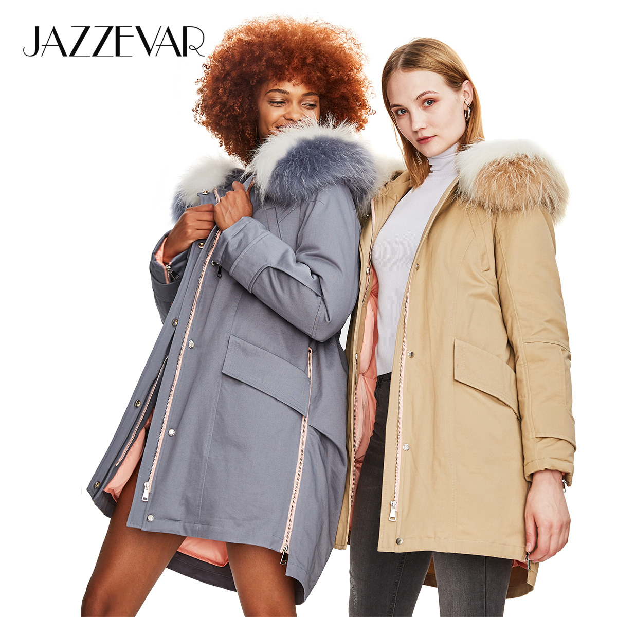 JAZZEVAR 2019 Winter New Safari Style Women's Casual Down Jacket Raccoon Fur Collar Zipper Coat Hooded Parka Top Quality Z18004