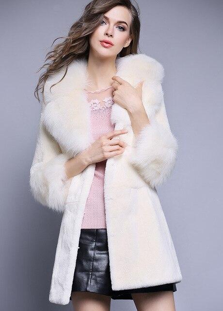Лиса большой меховой воротник полная кожа рекс кролика волосы шуба средней длины тонкий пальто женские зимние 2016 бесплатная доставка