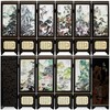 TNUKK Chinese Handmade Vintage Mountain&River Wooden Lacquer Six Pieces Folding Screen
