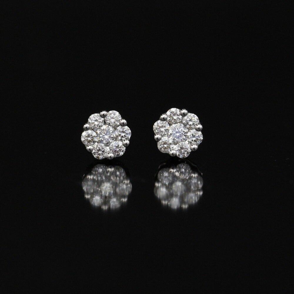 LASAMERO 0.078CT Round Cut Natural Diamond Cluster Earrings 18K Gold Diamond Halo Stud Earrings Fine Jewelry Earring Studs цена в Москве и Питере