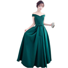Heißer Verkauf Dark Emerald Green Formale Elegante Lange kleider 2017 Neue Ankunft Abendkleider Satin Kleid Für Frauen A40