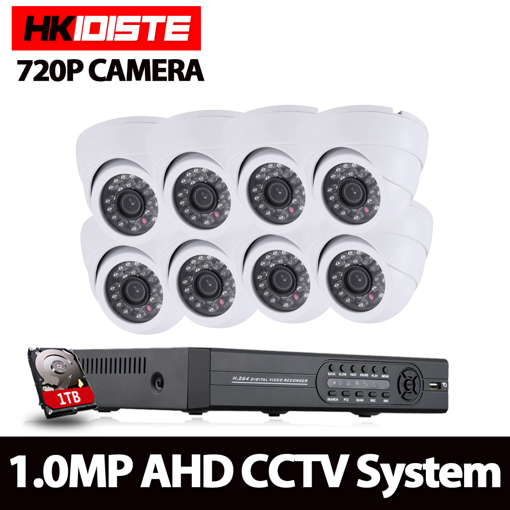 8CH CCTV System 8CH 720P DVR 8PCS 1.0MP IR indoor CCTV Camera 2000TVL Home Security System Surveillance Kits With 1TB HDD