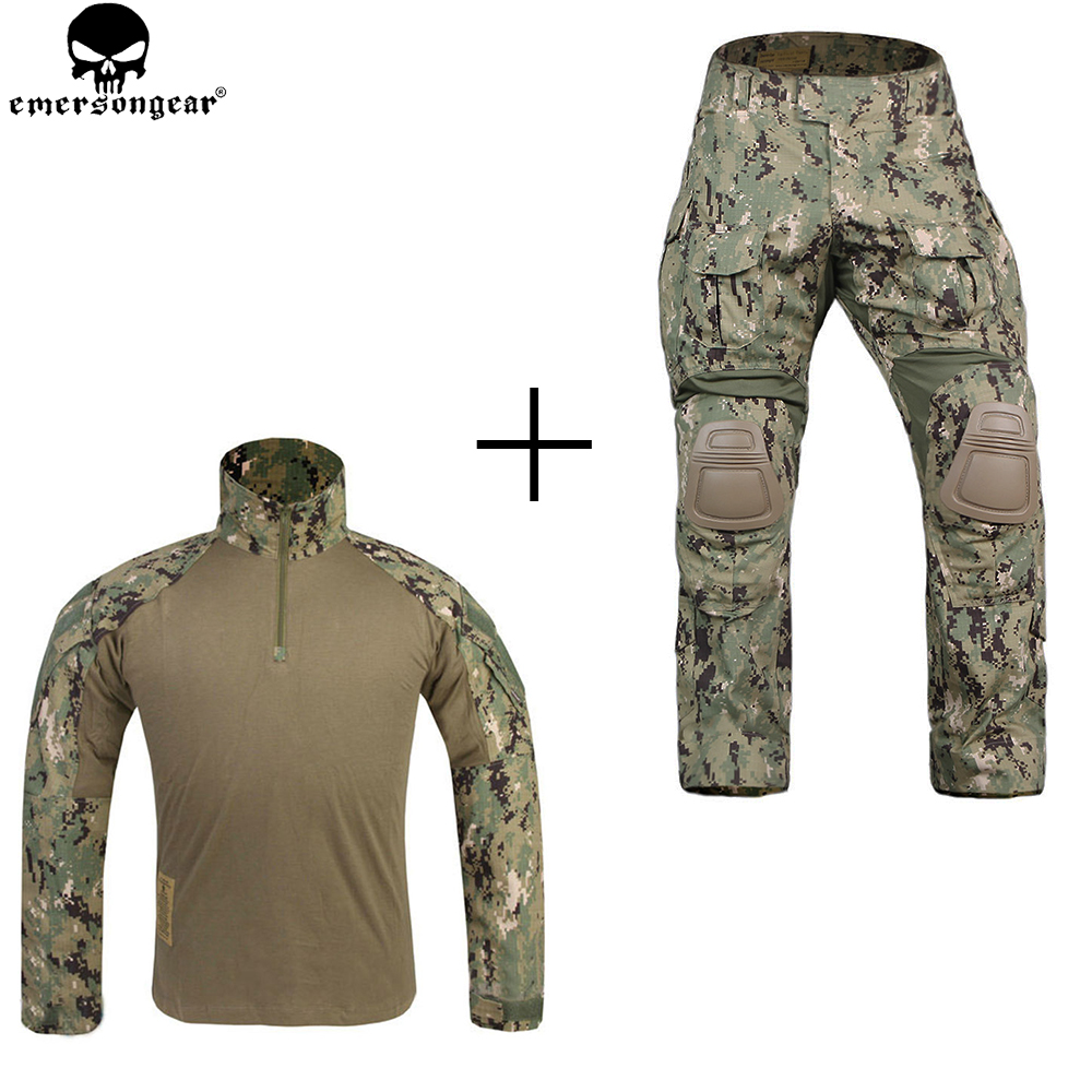 EMERSONGEAR Combat Uniform Tactical Pants with Knee Pads Mulitcam Shirt AOR2 G3 emerson Pants Military Army Hunting Accessories