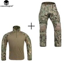 EMERSONGEAR muharebe üniforma taktik diz pedleri ile Mulitcam gömlek AOR2 G3 emerson pantolon askeri ordu avcılık aksesuarları