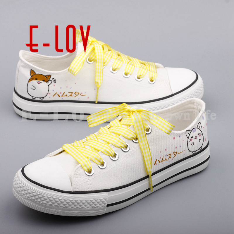 E-LOV Latest Hand Painted Canvas Shoes Cute Animals Graffiti Flat Shoe Custom Casual Espadrilles Oxford Shoes For Women e lov women casual walking shoes graffiti aries horoscope canvas shoe low top flat oxford shoes for couples lovers
