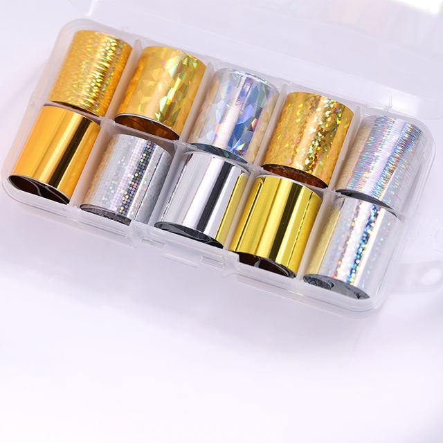 10 Pcs/Box Holographic Nail Foils Transfer Stickers