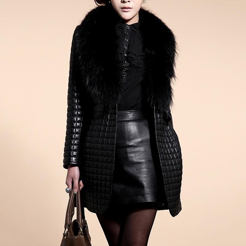 2017 Winterjas Vrouwen Warm Faux Fur Pu Lederen Lange Trenchcoat Plus Size Elegante Bontkraag Overjas Windbreaker Uitloper