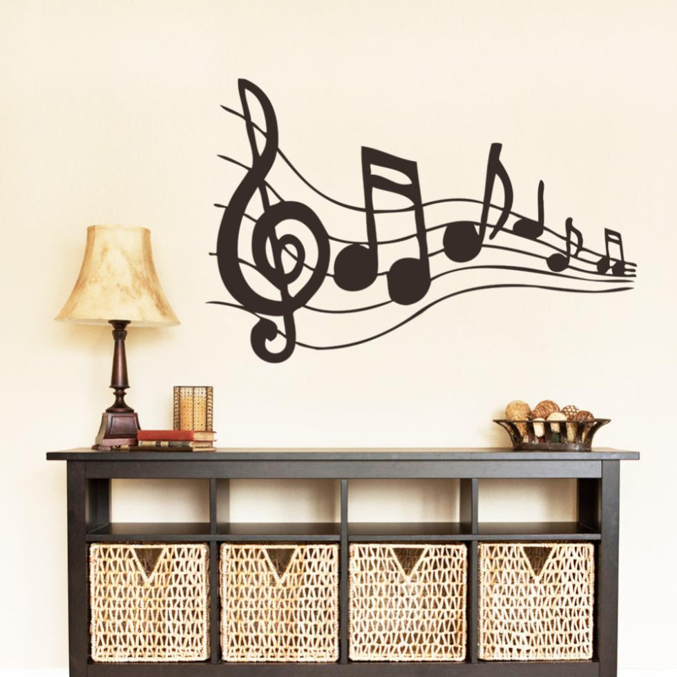 Note music wall art wall stickers black music decal bedroom wall note music wall art wall stickers black music decal bedroom wall decorations stickers home decals studio decor removable murals in wall stickers from home amipublicfo Choice Image