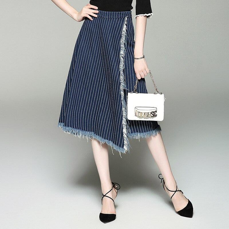 купить Women autumn jeans pants 2017 new brand runway top quality fashion 100%cotton stripe tassel mid  calf-length wide leg pants недорого