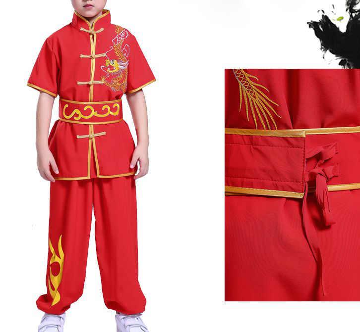 子供武道のパフォーマンスの衣類の子供たちの制服太極拳カンフー武術トレーニングスーツ刺繍ドラゴン制服