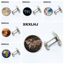 XKXLHJ 2018 World Map Pattern Cufflinks for Men Multicoloured Earth Shirt Cuff Links Personalized Wedding