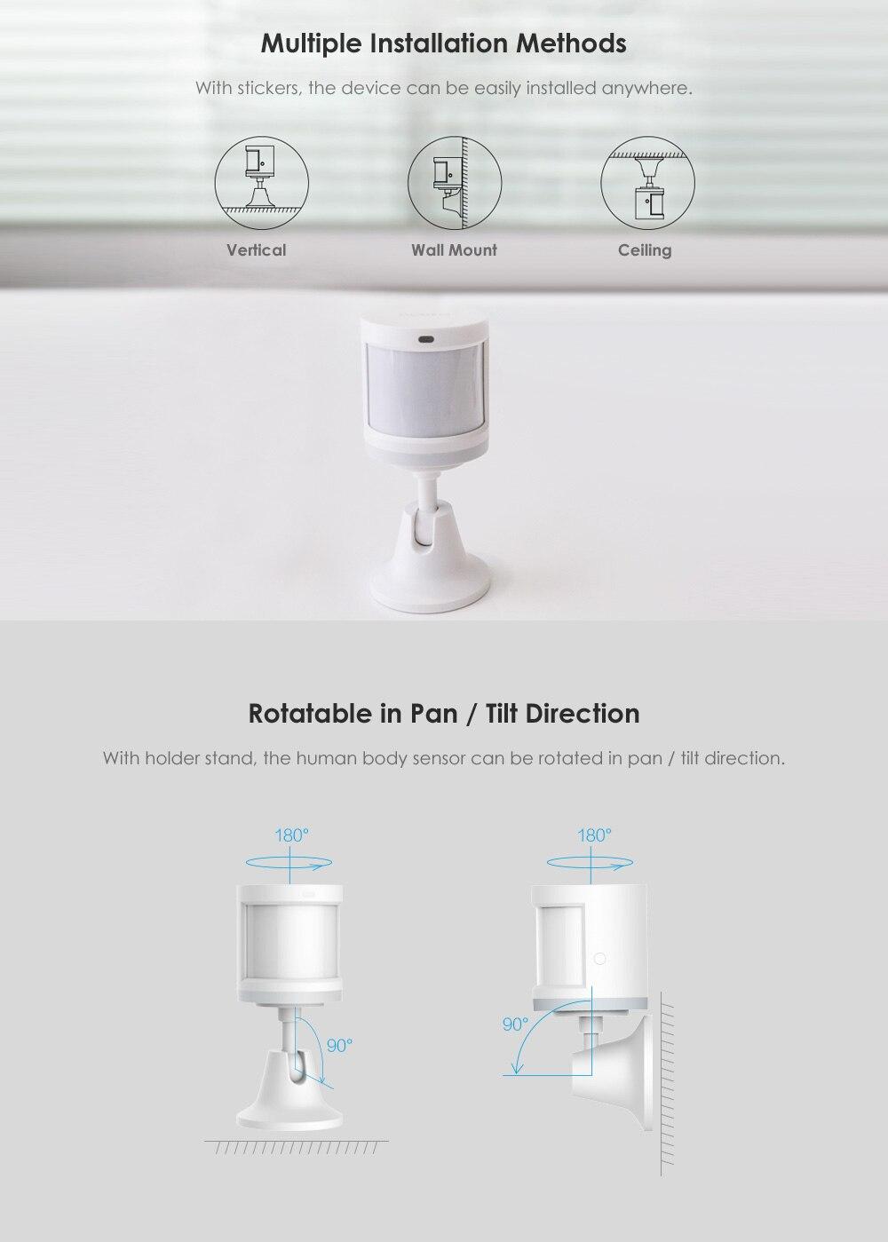 Xiaomi Aqara Body Sensor&Light Intensity Sensors, Zigbee Wireless WiFi With Holder Smart Mi Home APP for Gateway Hub iOSAndroid (31)