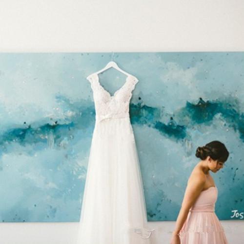 Bohemian A Line Wedding Dresses 2015 Lace Short Cap Sleeve V Neck ...