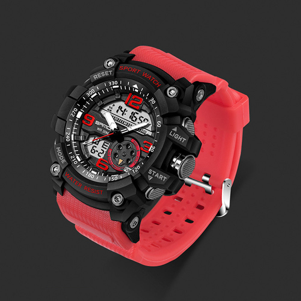 Digital Analog Dual Time Sport Watch Zones Calendar Chronograph Military Resin Wrist Watch Men 40