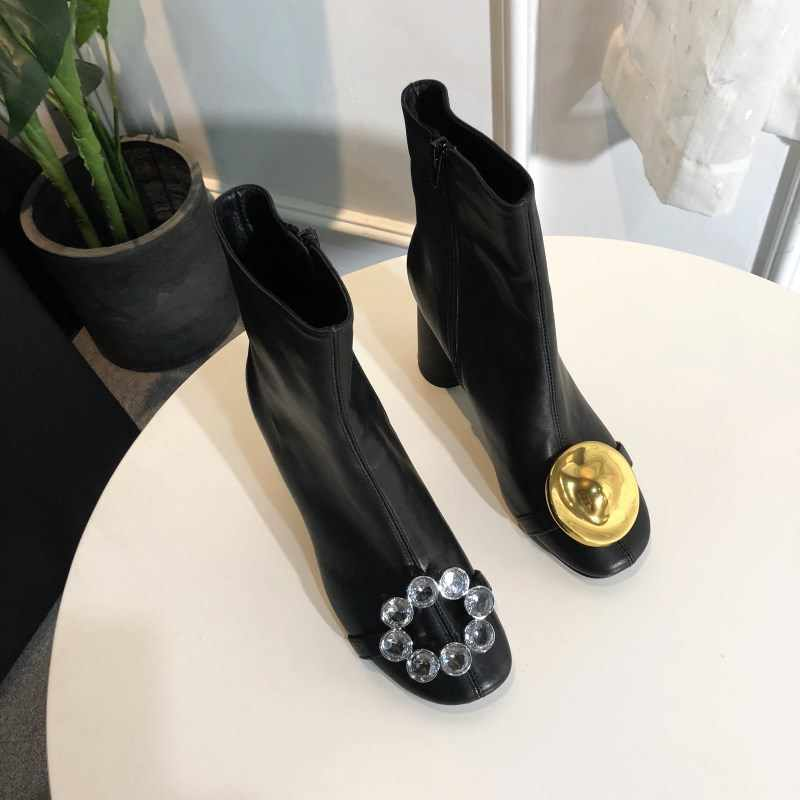 Jookrrix Warme Schoenen Vrouwen Merk Martin Laarzen Strass Echt Leer Dame chaussure Metalen Vrouwelijke schoeisel Crystal met Bont Zwart