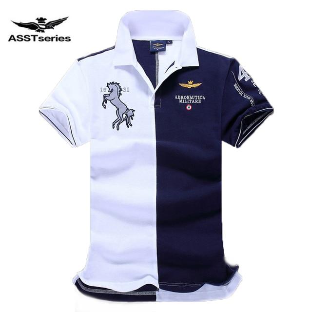 Camisas Dos Homens do Polo Logotipo Do Cavalo bordado Aeronautica Militar  da Força Aérea uma manga 01e2fe69e84b6