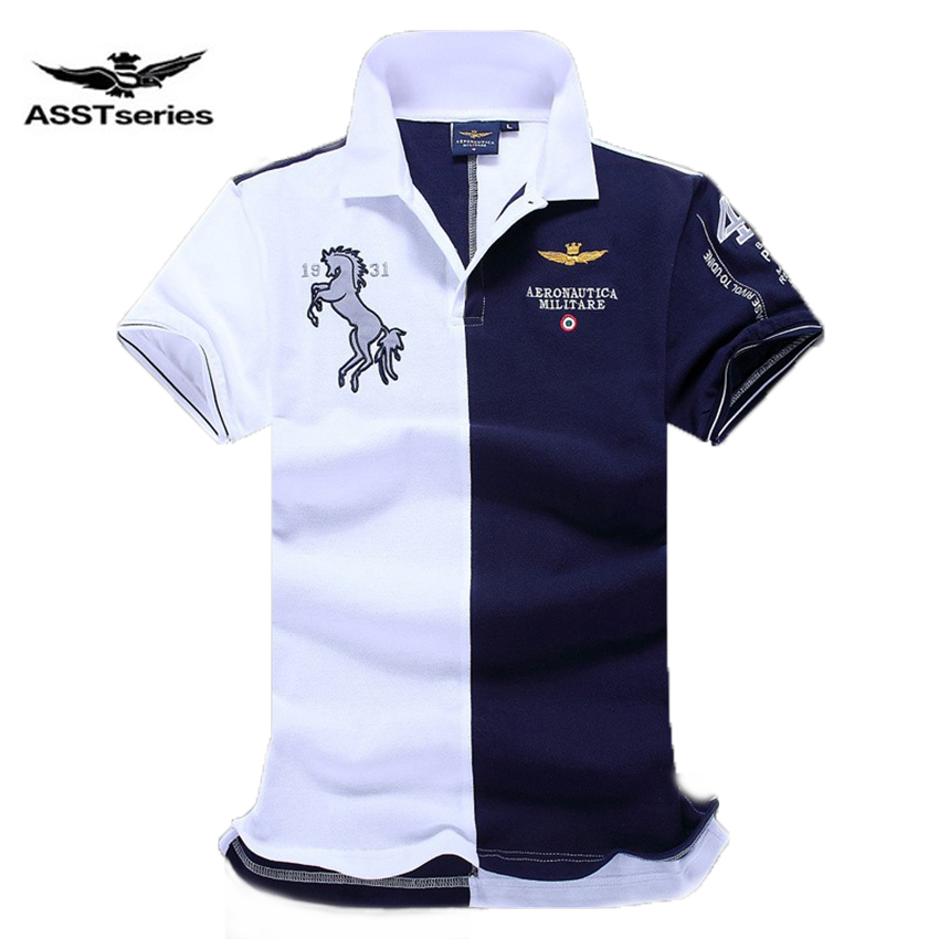 Embroidered Horse Logo Aeronautica Military Men   Polo   Shirts Air Force One short sleeve   polos   male top tee men brand clothing Z