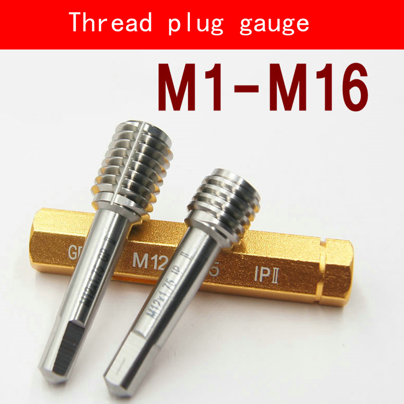 Thread Plug Gauge GO/NO GO Gage M1-M16 5H 6H HSS Material Hardness HRC53-60 Fine Pitch Thread Test Tool Top Quality high measuring tool 60 degree thread blades screw pitch gage gauge dual head measure tools