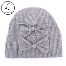 Cute 0-6 Months Newborn Baby Girls Bow Ribbed Cotton Beanies hats Kids Childs Autumn Winter Knitted