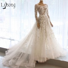 Elegant 3D Flower Wedding Dresses 2018 With Full Sleeves Lace A-line Bridal  Gowns O 6864ca09f909