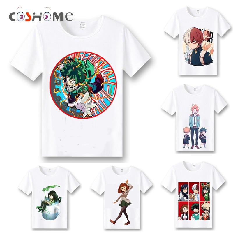 Coshome My Hero Academia T shirts Cosplay Costumes Boku No Hero Academia T-shirts Izuku Midoriya Men Women Summer Tees Tops