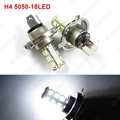 2pcs White Car H4 5050 SMD 18LED Bulb Fog Beam Light Lamp LED Headlight  #CA2094