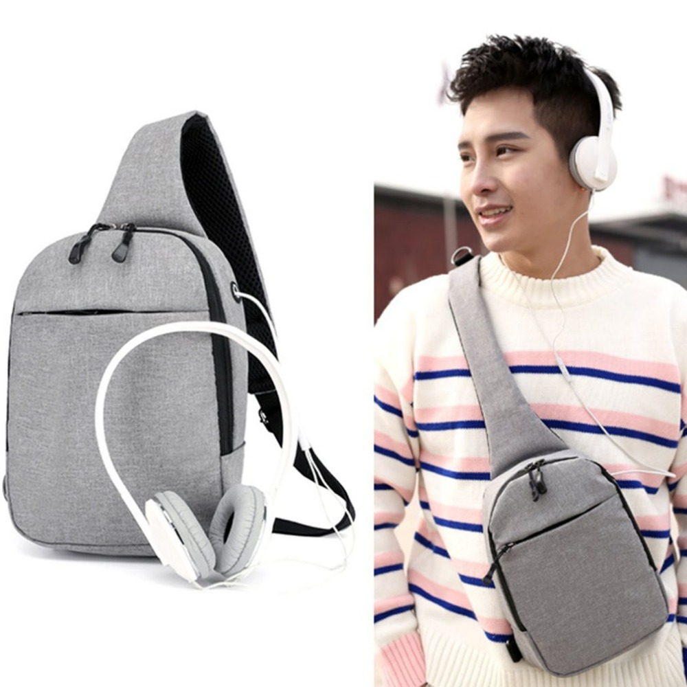 2018 Mens Messenger Bag Single Shoulder Bags Male Chest Pack Cross body Bag Cool Sling Bag With Earphone Hole