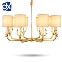 קרני אור נברשת בסלון מנורת נחושת נחושת יוקרה תאורת נברשת מודרני מנורת תקרת נברשת lampadari