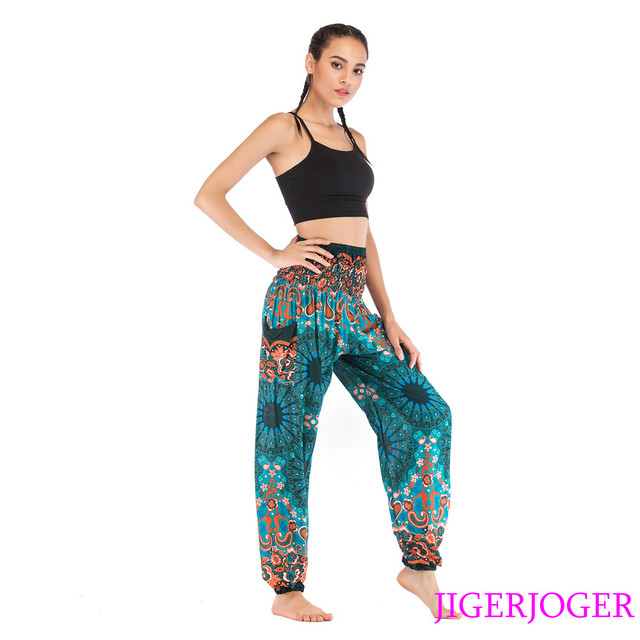 5c743c406a614 JIGERJOGER Rayon Cotton Lake Green Sunflower mandala Harem Pant side pocket  Loose High waistband yoga legging free drop shipping
