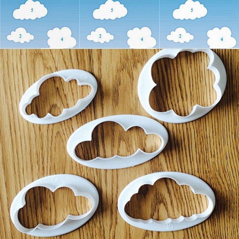 5 Pcs Plastic Cloud 3D Cutter Mold Cookie Biscuit Sugarcraft Dessert Baking Mould Fondant Cake Decor Tools Kit @LS