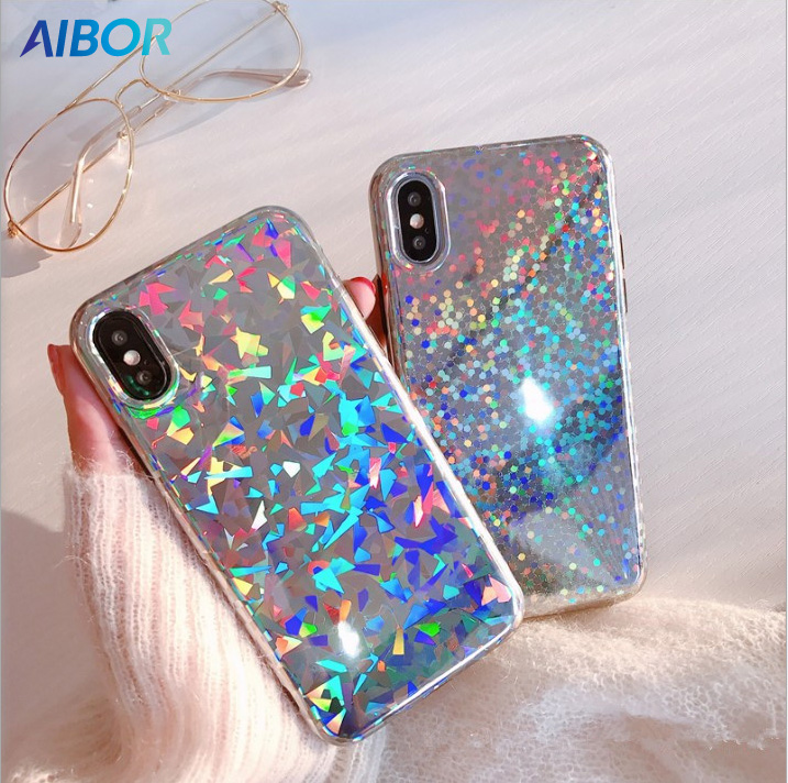 Luxury Bling Rainbow Glitter Phone Case For iPhone X XS