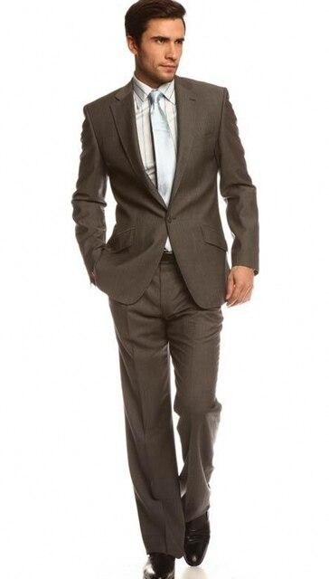 2017 Сшитое Slim Fit Нотч Жених Смокинги Мужские Костюмы Человек Бизнес Прополки Деловой Костюм Куртка + Брюки Бесплатно доставка