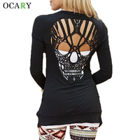 Warm Long Sleeve Spring Cardigan Fashion Women Human Skull Hollow Out Sweater Casual Loose Knitwear Plus