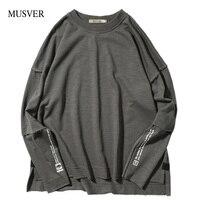 MUSVER Letter Print Hoodies Mens 2017 Fashion Casual Cotton Loose High Street Solid Long Sleeve Sweatshirts