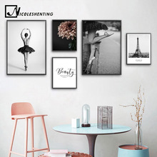 Ballet Dancing Girl Canvas Painting Poster Black White Flower Pop Art Print Nordic Decoration Wall Picture for Living Room Decor