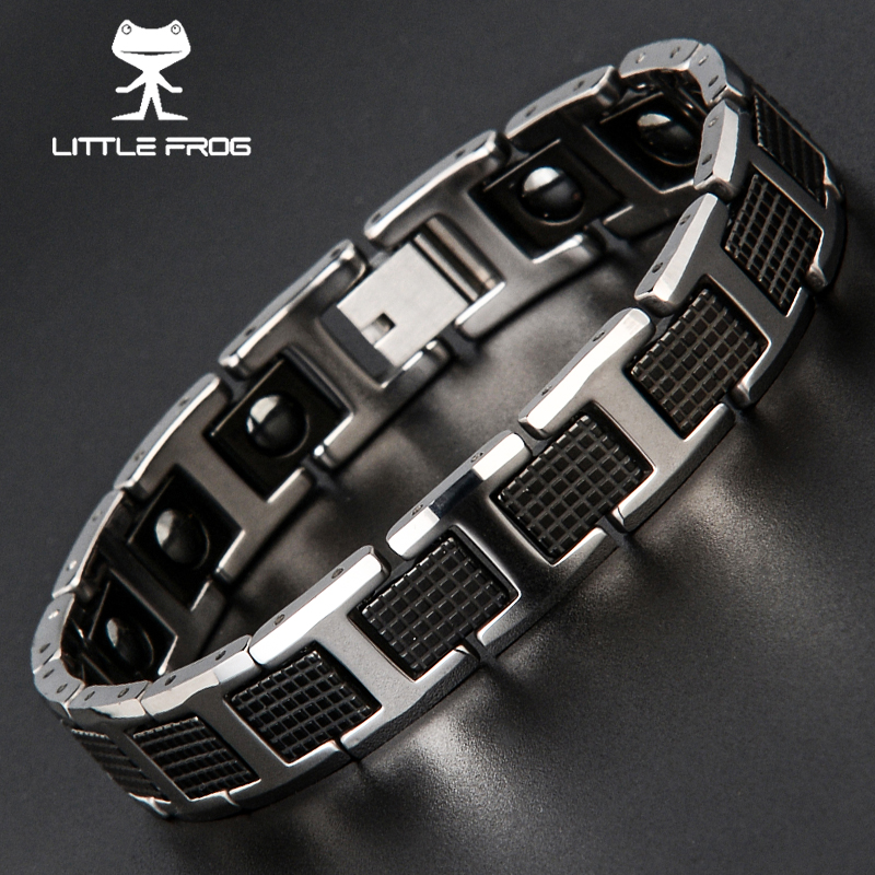 LITTLE FROG New Fashion Men Jewelry Healthy Energy Magnet Bracelet With Tungsten Magnetic Hematite Charm Bracelets Bangles vnox healthy stainless steel magnetotherapy bracelet men jewelry new fashion bio energy magnet bracelets
