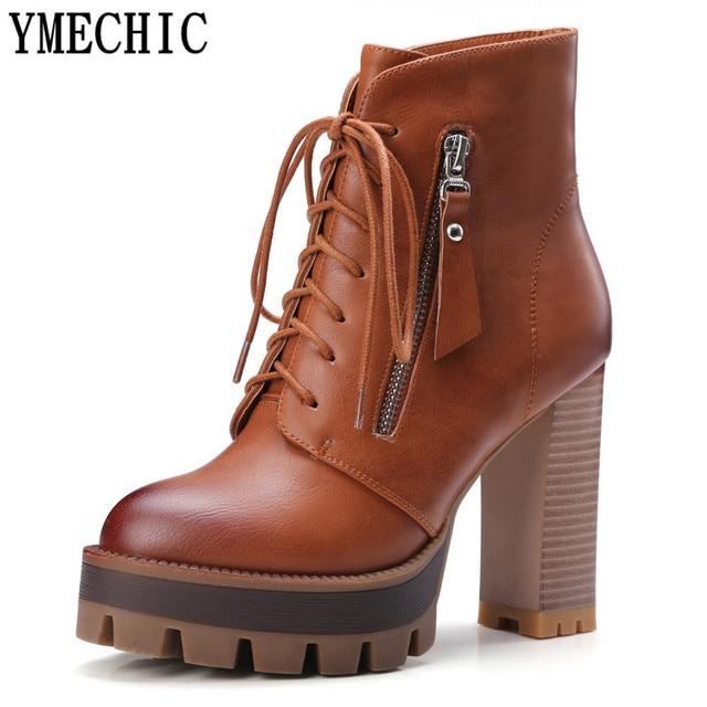 83e6f1231249bd YMECHIC Stiefeletten High Heels Plattform Lace Up Winter Herbst Kurze  Cowboy Stiefel Braun Schwarz Grau Plus