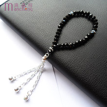 2019 Update girls black crystal rope chain charm bracelet,fine quality black religious tasbih prayer beads glass beaded bracelet(China)