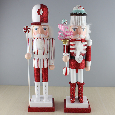38cm wooden nutcracker doll candy soldier vintage handcraft christmas new year gifts - Christmas Soldier