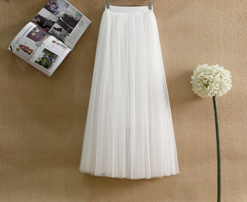 26c58b4f1b Blanco largo falda de tul de las mujeres 2019 Primavera Verano elegante  cintura elástico Jupe Longue Femme plisado estudiante Falda Midi coreano  falda