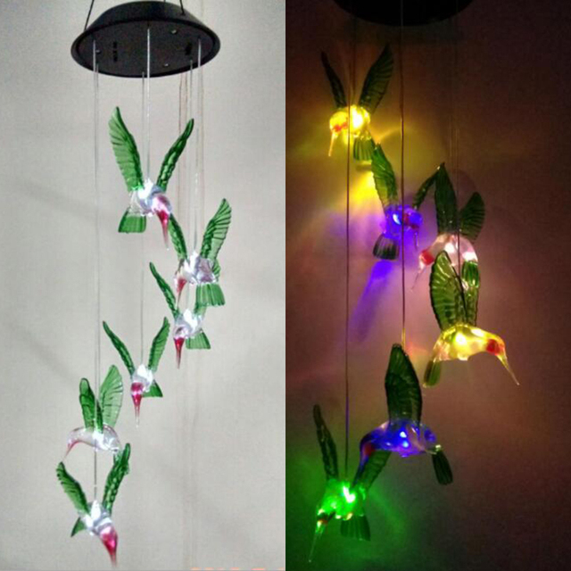 Solar Lamp Color Changing Led Wind Chimes Light Ed Chime Seven Outdoor