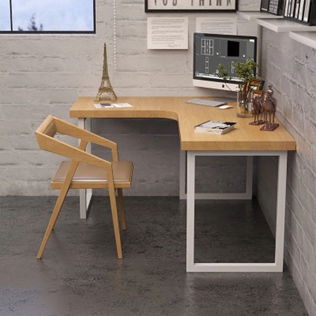 Household Small Sized Study Desk Solid Wood L Shaped Corner Computer Modern Minimalist Wrought Iron Creative