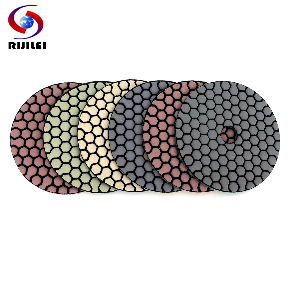 RIJILEI 6 Pcs 100mm Dry Polishing Pad 4 Inch Sharp Type Diamond Polishing Pads For Granite Marble Sanding Disc For Stone 4G-6