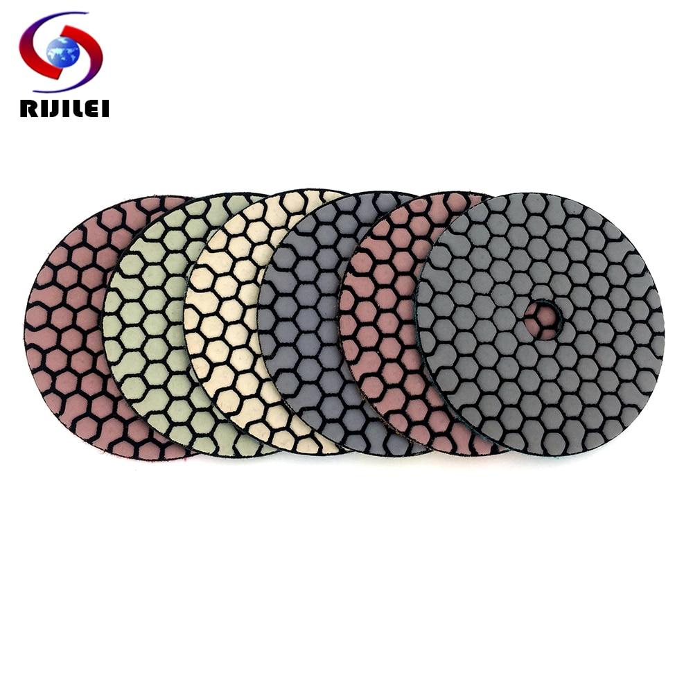 RIJILEI 6 Pcs 100mm Dry Polishing Pad 4 Inch Sharp Type Diamond Polishing Pads For Granite Marble Sanding Disc For Stone 4G-6