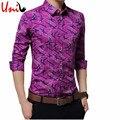 100% Хлопок С Длинным Рукавом Камуфляж Печатные мужские Рубашки Slim Fit Корейский 2017 Мужская Рубашка Цветочные Случайные Рубашки 5XL YN780