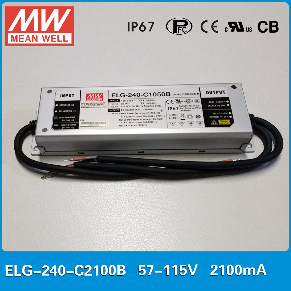 Original Meanwell ELG-240-C2100B constant current LED drive 2100mA 240W dimming high power supply PFC IP67Original Meanwell ELG-240-C2100B constant current LED drive 2100mA 240W dimming high power supply PFC IP67