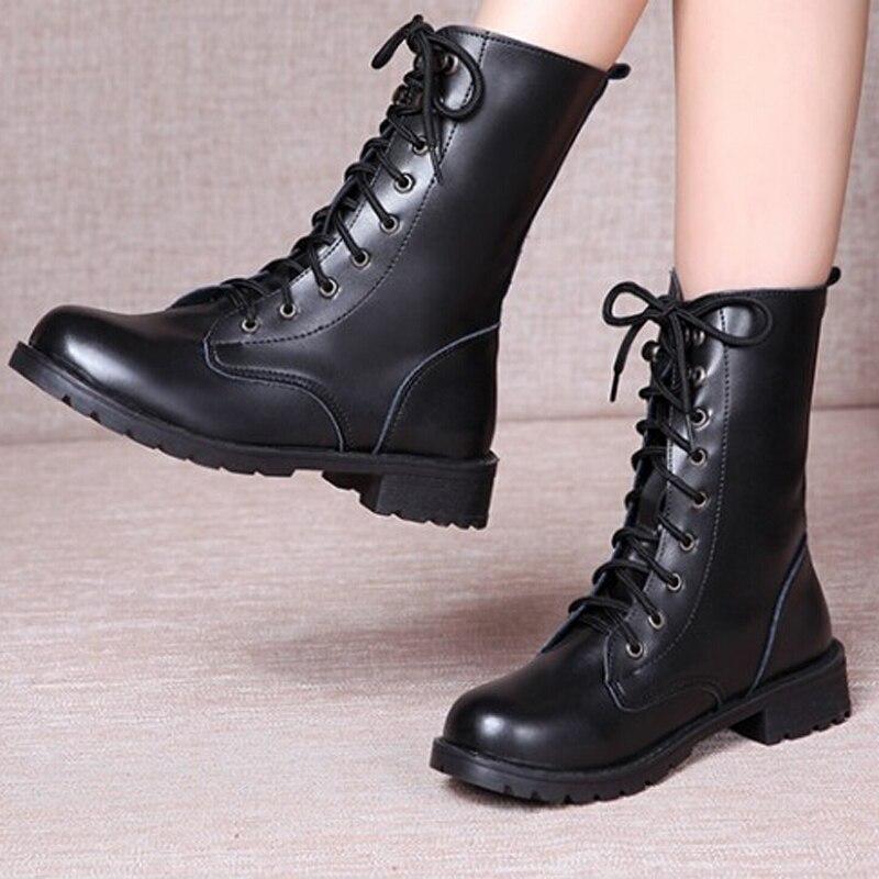 743e5b4434 Botas Estilo Punk Invierno 931012 Martin Vendaje Encaje Motocicleta Zapatos  Negro Casuales Mujer La Clásico De Británico pfpwqrE