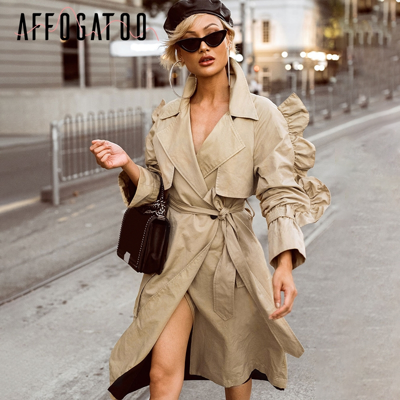 Affogatoo Ruffle sleeve kahaki trench coat women V neck cotton autumn long coat 2018 Elegant high waist sash female coat outwear